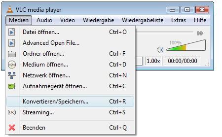 VLC starten, Medien und Konvertieren/Speichern…