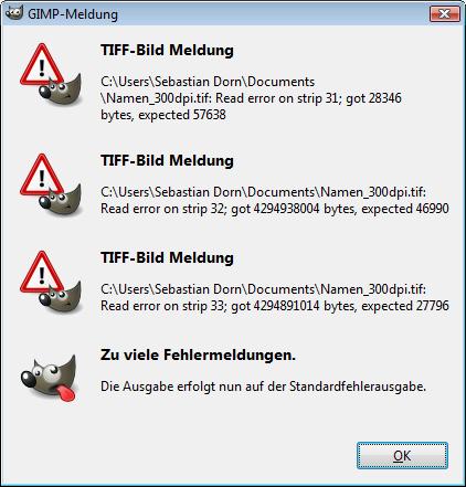 Fehlermeldung in GIMP