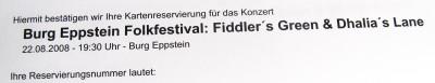 Kartenvorbestellung für Fiddler's Green