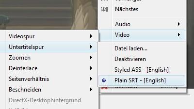 Untertitelspur in VLC wählen