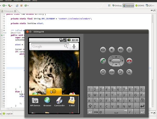 Laufender Android-Emulator mit Eclipse im Hintergrund
