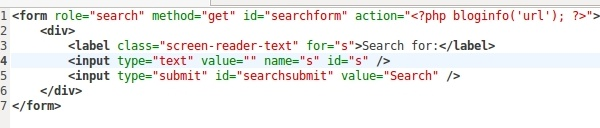 WordPress Code search form