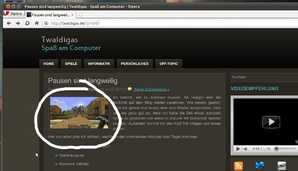Wordpress-Blog mit kleinem Bild im Artikel