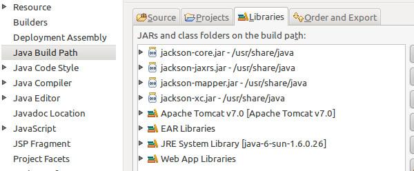 Zum Projekt hinzugefügte externe JARs.