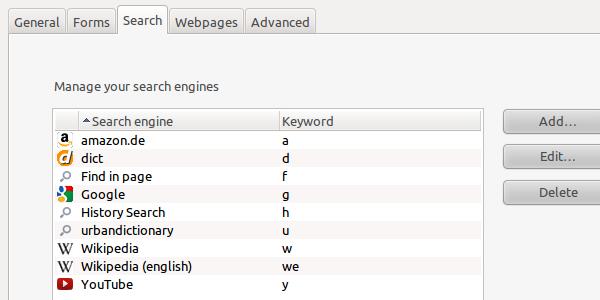 Opera custom search