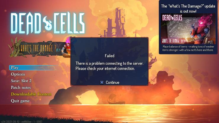 Dead Cells error message.